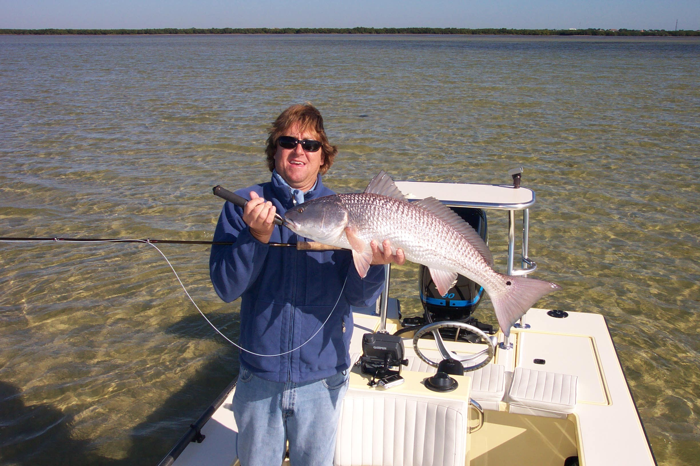 dan with nice redfish caught on the fly with capt wayne simmons fly fishing